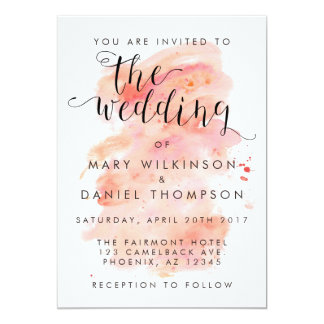 Pink Watercolor Background Wedding Invitation