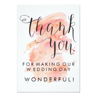 Pink Watercolor Background Wedding Thank You Card 13 Cm X 18 Cm Invitation Card