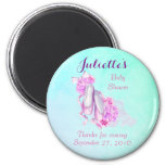 Pink Watercolor Ballet Shoes Baby Shower Thank You 6 Cm Round Magnet