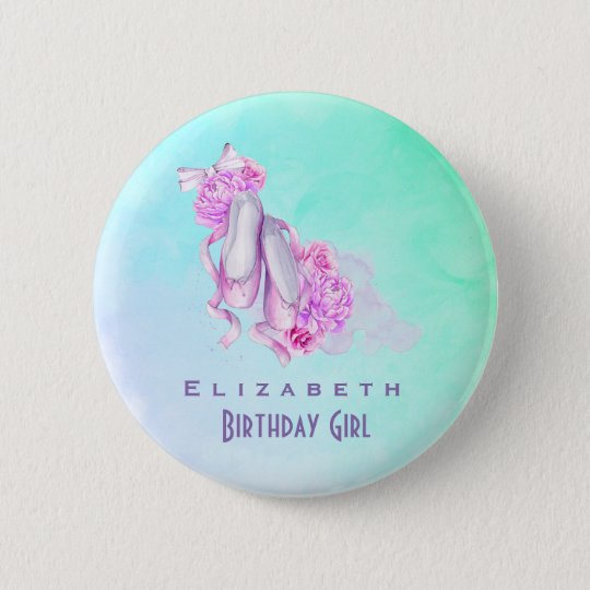 Pink Watercolor Ballet Shoes Birthday Girl 6 Cm