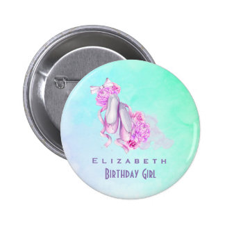 Pink Watercolor Ballet Shoes Birthday Girl 6 Cm Round Badge