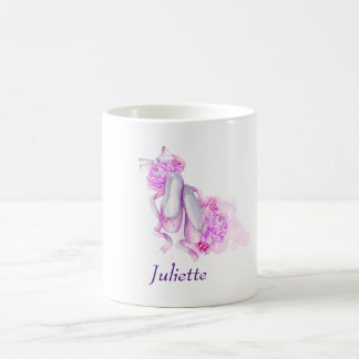 Pink Watercolor Ballet Shoes Personalized Coffee Mug