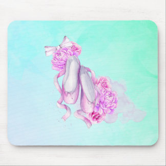 Pink Watercolor Ballet Shoes with Peonies and Bow Mouse Pad