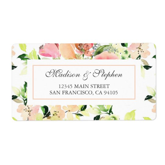Pink Watercolor Blossom Pattern -  Wedding Shipping Label