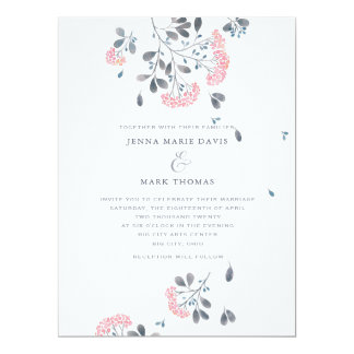 Pink Watercolor Blossoms Wedding Invitation