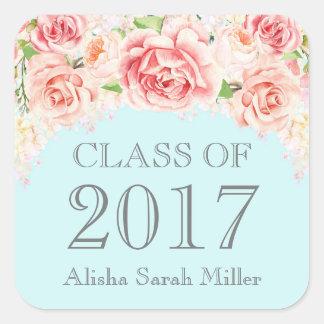 Pink Watercolor Blue Graduation Class of 2017 Square Sticker