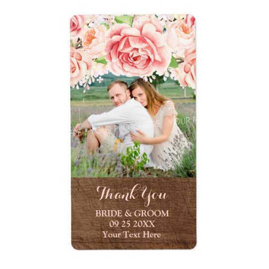 Pink Watercolor Brown Wood Photo Wedding Label