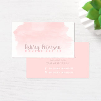 Pink watercolor brushstroke makeup typography business card
