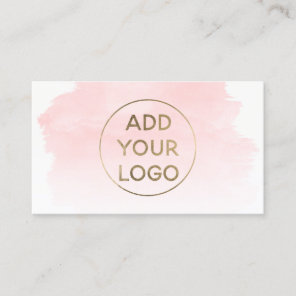 Pink watercolor brushstroke upload your logo business card