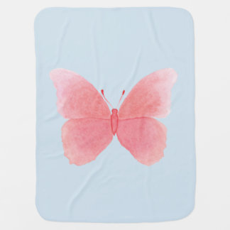 Pink watercolor butterfly baby blanket