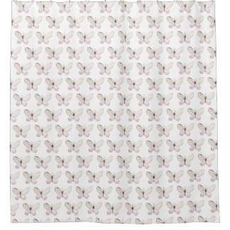 Pink Watercolor Butterfly Pattern Shower Curtain