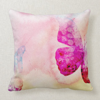 Pink Watercolor Butterfly Throw Pillow
