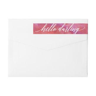 Pink Watercolor Calligraphy Script Return Address Wrap Around Label
