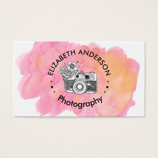 Pink Watercolor Camera Professional Photography Business Card