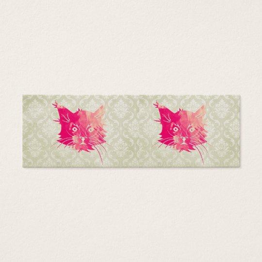 Pink Watercolor Cat Vector Vintage Floral Damask Mini Business Card