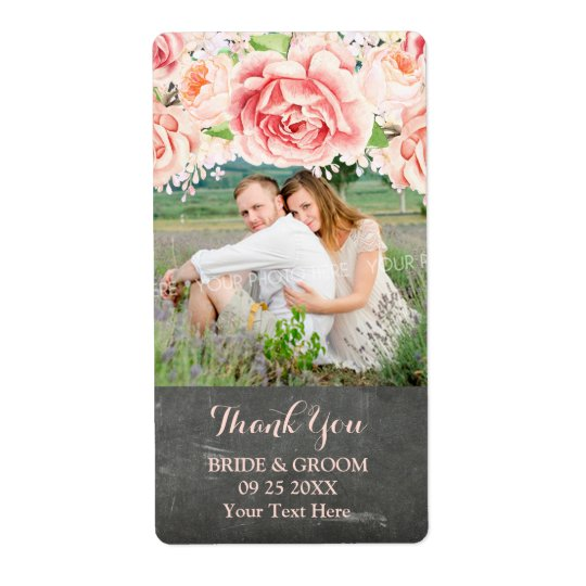 Pink Watercolor Chalkboard Photo Wedding Label Shipping Label