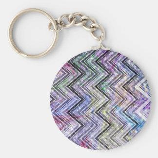 Pink Watercolor Chevron Zigzag Glitter Photoprint Keychain