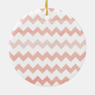 Pink Watercolor Chevron Zigzag Pattern Round Ceramic Decoration