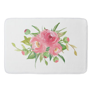 Pink Watercolor Chrysanthemums Bath Mats