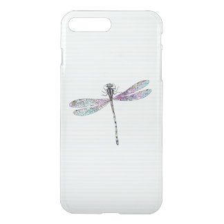 Pink Watercolor Cute Dragonfly Vintage Stripes iPhone 7 Plus Case