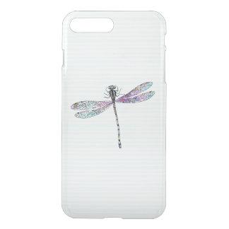 Pink Watercolor Cute Dragonfly Vintage Stripes iPhone 8 Plus/7 Plus Case
