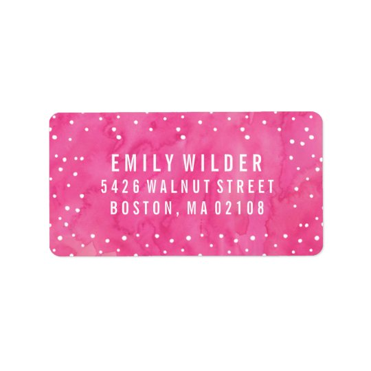 Pink Watercolor Dots Baby Shower Address Label