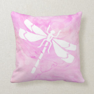 Pink Watercolor Dragonfly Throw Pillow