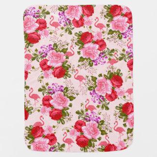 Pink watercolor elegant flamingo vintage floral receiving blanket