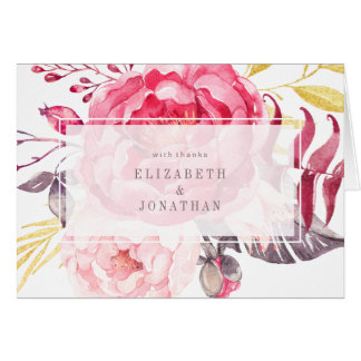 Pink Watercolor English Bouquet Thank You Card