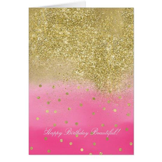 Pink Watercolor Faux Gold Glitter Beautiful Card