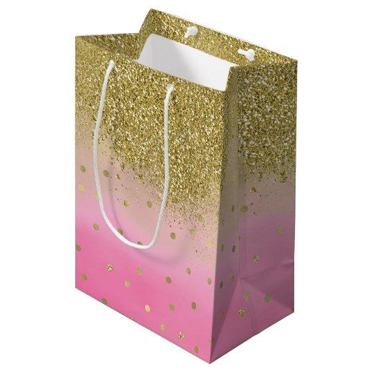 Pink Watercolor Faux Gold Glitter Confetti Medium Gift