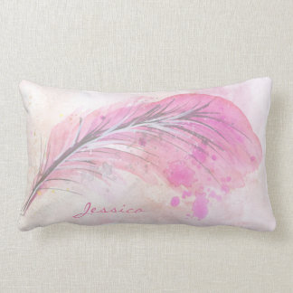 Pink watercolor feather with name lumbar pillow