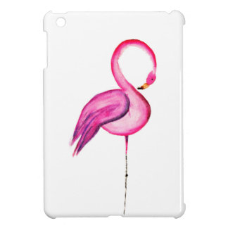 Pink watercolor flamingo decoration iPad mini cover