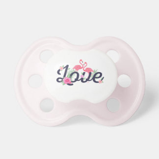 Pink watercolor flamingo flowers love typography pacifiers