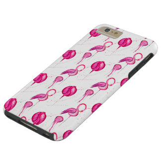 Pink watercolor flamingo seamless pattern tough iPhone 6 plus case