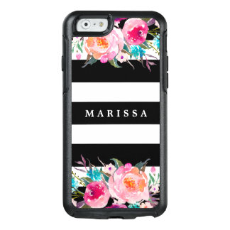 Pink Watercolor Floral Black White Stripe Custom OtterBox iPhone 6/6s Case
