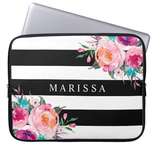 Pink Watercolor Floral Black White Stripes Custom Laptop