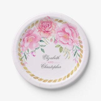Pink Watercolor Floral Bouquet Wedding Paper Plate