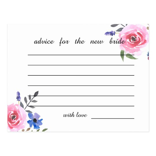 Pink Watercolor Floral Bridal Shower Advice Postcard