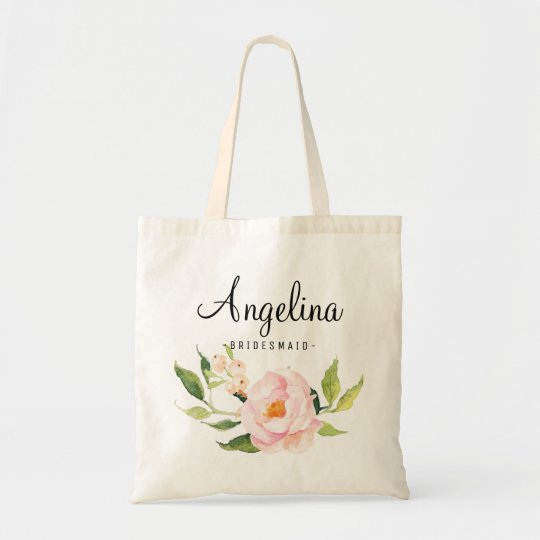 Pink Watercolor Floral Bridesmaid Personalised Tote Bag