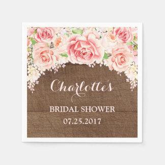 Pink Watercolor Floral Brown Wood Bridal Shower Paper Serviettes