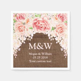 Pink Watercolor Floral Brown Wood Wedding Napkin Disposable Serviette