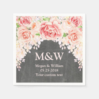Pink Watercolor Floral Chalkboard Wedding Napkin Disposable Napkins