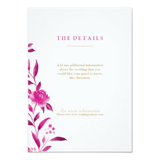 Pink Watercolor floral Chinoiserie Wedding details Card