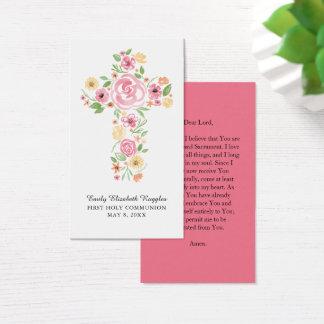 Pink Watercolor Floral Cross Prayer Card