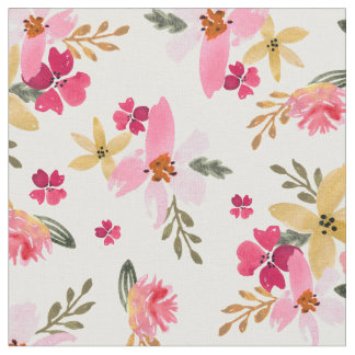 Pink Watercolor Floral Fabric