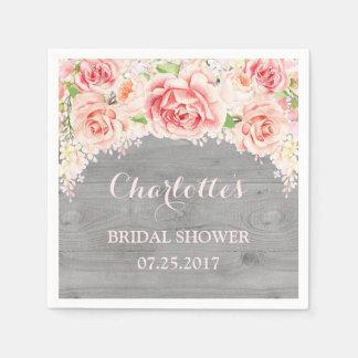Pink Watercolor Floral Grey Wood Bridal Shower Disposable Serviettes