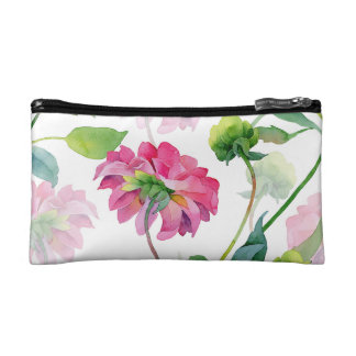 Pink Watercolor Floral Illustration Makeup Bags