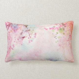 Pink Watercolor Floral Lumbar Pillow