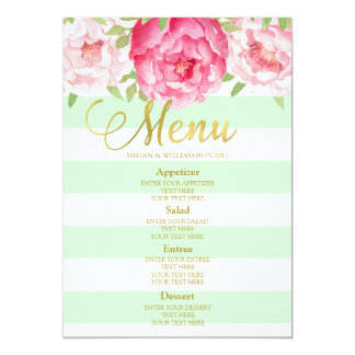 Pink Watercolor Floral Mint Stripes Wedding Menu Card